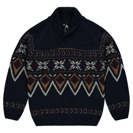 Παιδικά - Πλεκτό πουλόβερ με ζακάρ σχέδιο