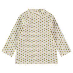 Μακρυμάνικη μπλούζα με όρθιο λαιμό και εμπριμέ μοτίβο καρδούλες