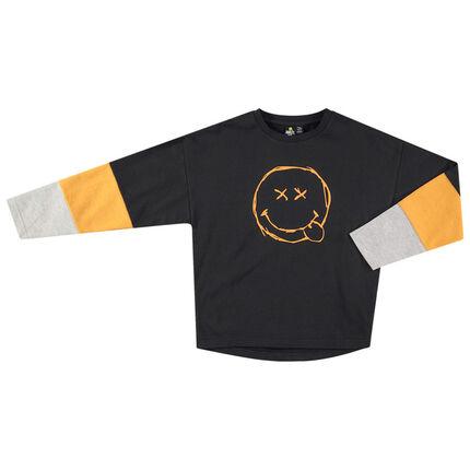 Παιδικά - Τρίχρωμη μακρυμάνικη μπλούζα με τυπωμένο Smiley