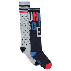 Σετ 2 ζευγάρια ψηλές κάλτσες με ζακάρ μοτίβα