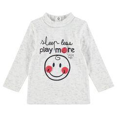 Μακρυμάνικη ριμπ μπλούζα με όρθιο λαιμό, μήνυμα και στάμπα ©Smiley