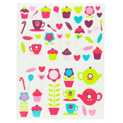 Stickers thé et cupcakes en vinyle autocollant