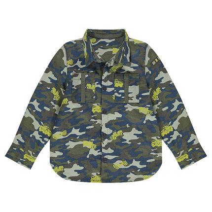 Μακρυμάνικο πουκάμισο με μοτίβο μιλιτέρ και αυτοκίνητα