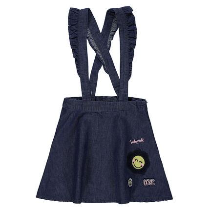 Φόρεμα-σαλοπέτα από σαμπρέ ύφασμα με βολάν στις τιράντες και κεντημένο μοτίβο ©Smiley