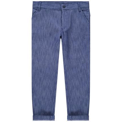 Βαμβακερό παντελόνι με μελανζέ όψη