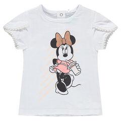 Κοντομάνικη μπλούζα με στάμπα Μίνι της ©Disney και φουντίτσες