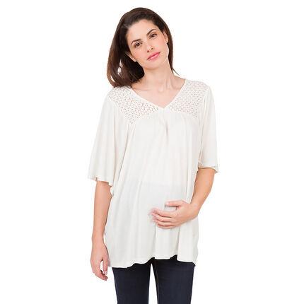 Φαρδιά μπλούζα εγκυμοσύνης με δαντέλα