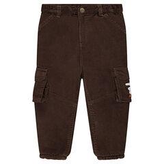 Βελούδινο παντελόνι με φλις επένδυση και τσέπες με καπάκι