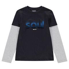 Παιδικά - Μακρυμάνικη μπλούζα με εφέ 2 σε 1 και στάμπα