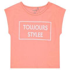Παιδικά - Κοντομάνικη μπλούζα σε τετράγωνη γραμμή, με φαντεζί τύπωμα