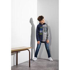 Παιδικά - Μακρυμάνικη δίχρωμη μπλούζα με σήματα και στάμπα κείμενο
