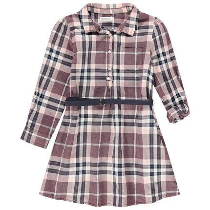 Μακρυμάνικο φόρεμα-πουκαμίσα με μεγάλα καρό και ζώνη