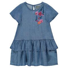 Φόρεμα με βολάν από tencel με κεντημένα λουλούδια