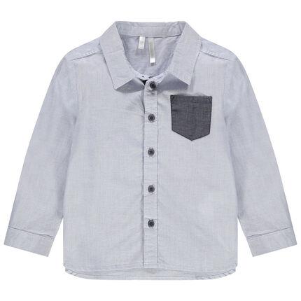 Μακρυμάνικο πουκάμισο με μικρά καρό και τσέπη σε αντίθεση