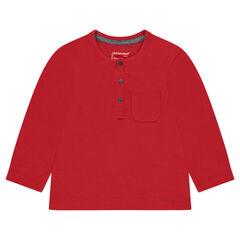 Μακρυμάνικη μπλούζα από ζέρσεϊ slub ύφασμα με εξωτερική τσέπη