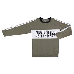 Παιδικά - Μακρυμάνικη μπλούζα από ζέρσεϊ slub ύφασμα με τυπωμένες φράσεις