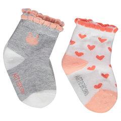 Σετ με 2 ζευγάρι ασορτί κάλτσες με φεστόνι στη ριμπ ύφανση