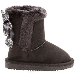 Χαμηλές μπότες με γούνινη επένδυση και σατέν φιόγκους πίσω, 20 έως 23