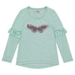 Μακρυμάνικη μπλούζα από μελανζέ ζέρσεϊ με πεταλούδα από μαγικές πούλιες και βολάν