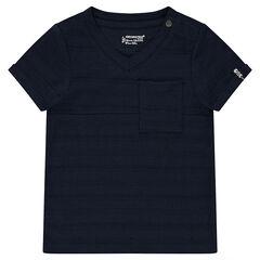 Παιδικά - Κοντομάνικη μπλούζα από slub ύφασμα με τσέπη με στάμπα