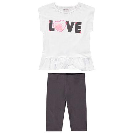 Σύνολο μπλούζα με καρδιά από τούλι και πούλιες και κοντό κολάν