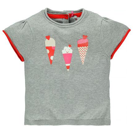 Pull manches courtes avec prints glaces