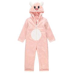 Ροζ ολόσωμη πιτζάμα από sherpa σε μορφή ζώου