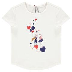 Κοντομάνικη μπλούζα με φαντεζί τύπωμα και παγιέτες