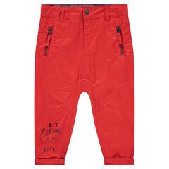 Παντελόνι από τουίλ με ξεβαμμένη όψη, τυπωμένη φράση και 2 τσέπες με φερμουάρ