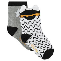 Σετ 2 ζευγάρια ασορτί κάλτσες, με εμπριμέ μοτίβο / μονόχρωμες με αστέρι