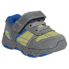 Αθλητικά παπούτσια από σουέτ δέρμα με κορδόνια και αυτοκόλλητο βέλκρο
