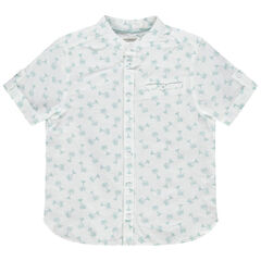 Chemise manches courtes à col mao et palmiers printés all-over