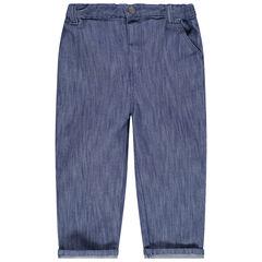 Παντελόνι με μελανζέ όψη σε απόχρωση ντένιμ με τσέπες