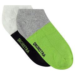 Σετ με 2 ζευγάρια κοντές κάλτσες δίχρωμες