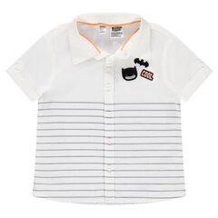 Κοντομάνικο βαμβακερό πουκάμισο με σήμα Batman και ρίγες