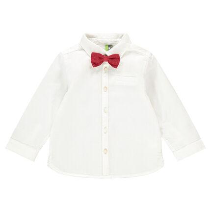 Μακρυμάνικο πουκάμισο σε βαμβακερή ύφανση με αφαιρούμενο παπιγιόν