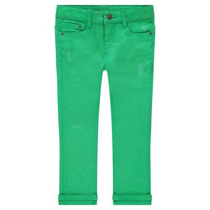 Πράσινο βαμβακερό παντελόνι με used όψη