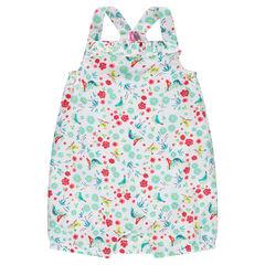 Κοντή ολόσωμη φόρμα με φλοράλ μοτίβο σε όλη την επιφάνεια