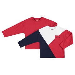Παιδικά - Σετ με 2 ασορτί μακρυμάνικες μπλούζες, μία μονόχρωμη / μία με λωρίδες σε αντίθεση και τσέπη