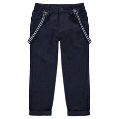 Υφασμάτινο παντελόνι σε μπλε μαρίν με ριγέ αφαιρούμενες τιράντες