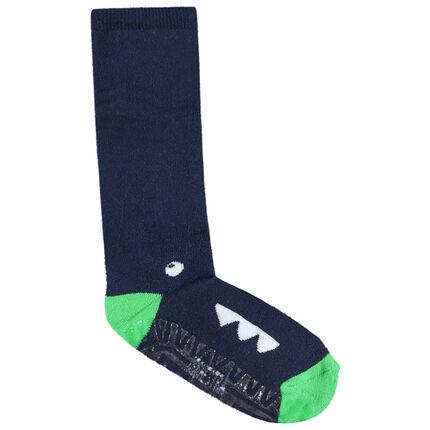 Ψηλές αντιολισθητικές κάλτσες με ζακάρ μοτίβο δεινόσαυρο