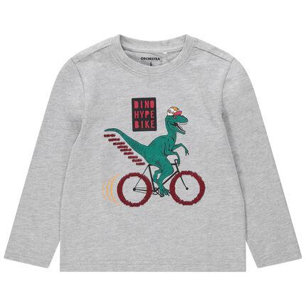 Μακρυμάνικη ζέρσεϊ μπλούζα με τυπωμένο δεινόσαρυο