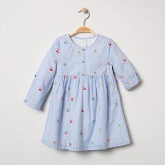 Μακρυμάνικο φόρεμα με ρίγες και κεντημένα φρούτα