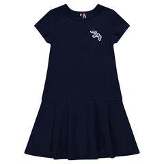 Παιδικά - Φανελένιο φόρεμα με μπάλωμα πουλάκι