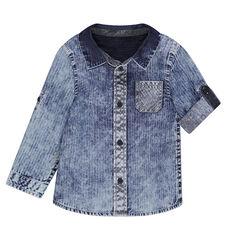 Μακρυμάνικο τζιν πουκάμισο με ξεβαμμένη όψη