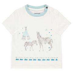 Κοντομάνικη μπλούζα με στάμπα με ζέβρες