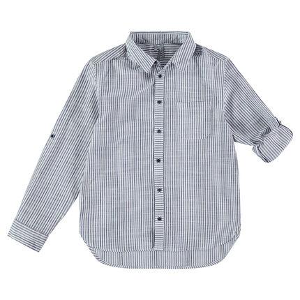 Παιδικά - Μακρυμάνικο πουκάμισο με ρίγες και πλακέ τσέπη
