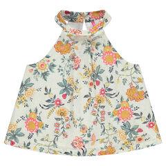 Πλεκτό μπλουζάκι με όρθιο γιακά και λουλουδάκια σε όλη την επιφάνεια