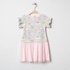 Φόρεμα 2 σε 1 με πολύχρωμα μοτίβα και τούλι