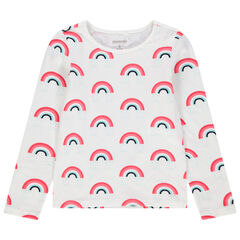 Μακρυμάνικη μπλούζα με μοτίβο ουράνια τόξα σε όλη την επιφάνεια